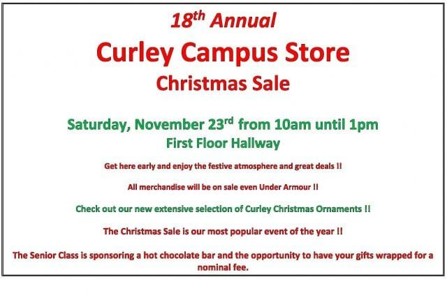 Curley Campus Store Christmas Sale